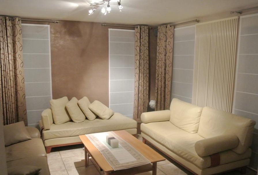 store americain en etamine et tentures confectionnees avec. Black Bedroom Furniture Sets. Home Design Ideas